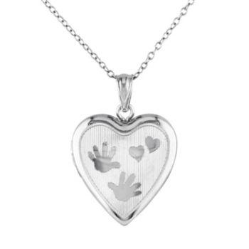Stella Grace Sterling Silver Handprint Heart Locket Necklace