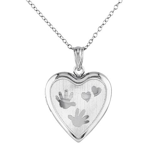 Stella Grace Sterling Silver Handprint Heart Locket Necklace