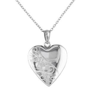 Stella Grace Sterling Silver Filigree Heart Locket Necklace