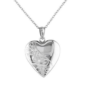 Sterling Silver Filigree Heart Locket Necklace