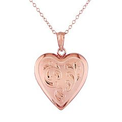 Stella Grace Pink Rhodium-Plated Sterling Silver Filigree Heart Locket Necklace