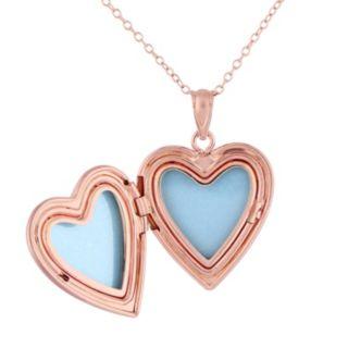 Stella Grace Pink Rhodium-Plated Sterling Silver Filigree Heart Locket Necklace