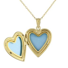 Yellow Rhodium-Plated Sterling Silver Filigree Heart Locket Necklace