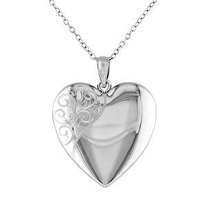 Stella Grace Sterling Silver Filigree Heart Locket Necklace