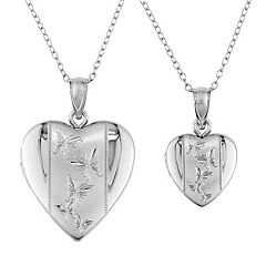 Stella Grace Sterling Silver Butterfly Heart Locket Necklace Set