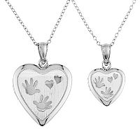 Sterling Silver Handprint Heart Locket Necklace Set