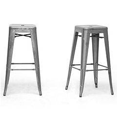 Baxton Studio French Industrial 2-Piece Modern Bar Stool Set