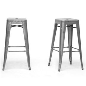 Baxton Studio French Industrial 2-Piece Modern Bar Stool Set