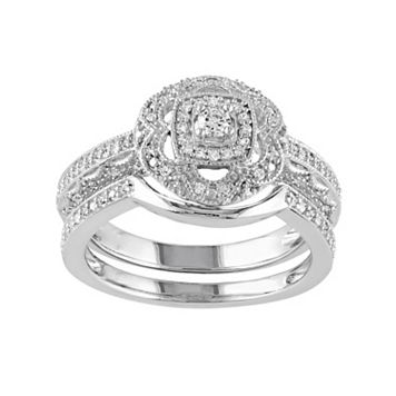 Diamond Halo Engagement Ring Set in Sterling Silver (1/3 Carat T.W.)