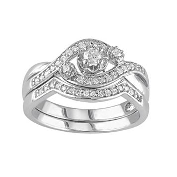 Diamond Engagement Ring Set in Sterling Silver (1/3 Carat T.W.)