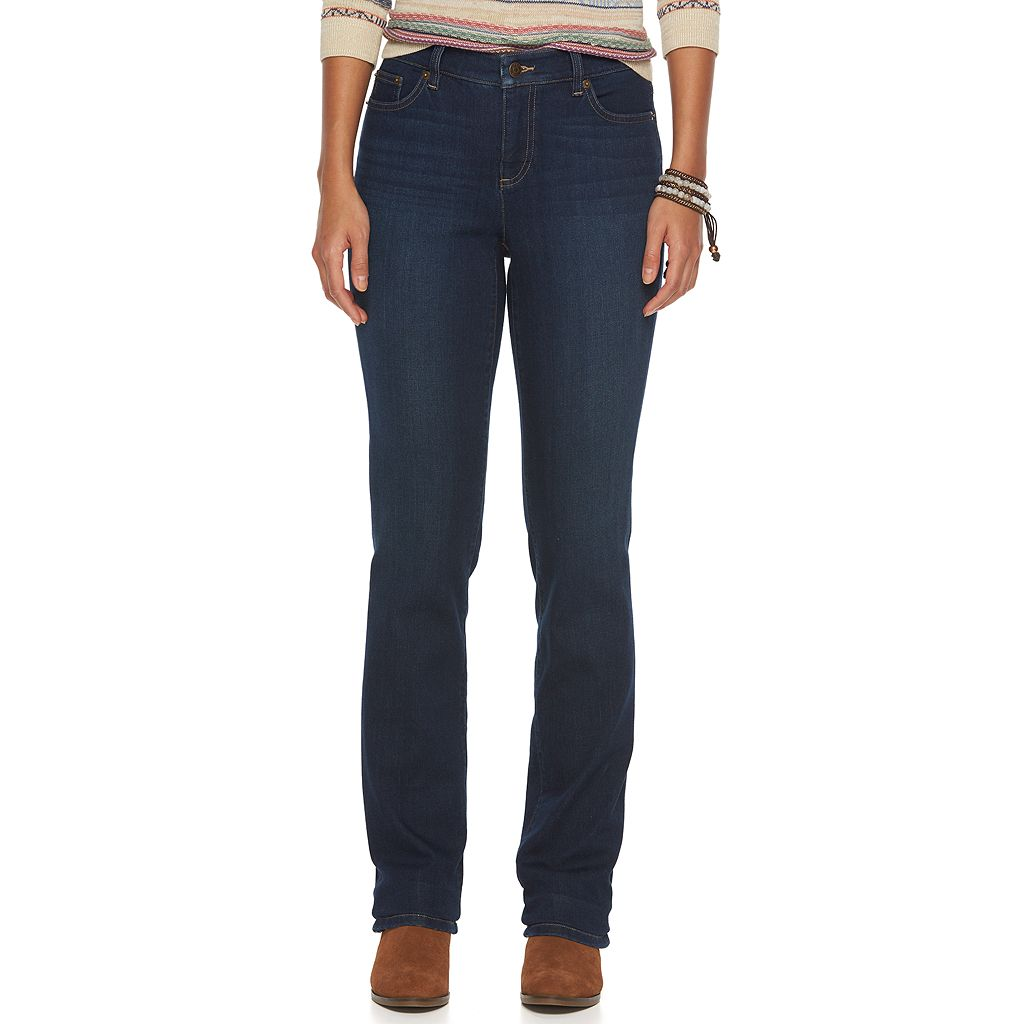 Petite Chaps Curvy Fit Straight-Leg Jeans