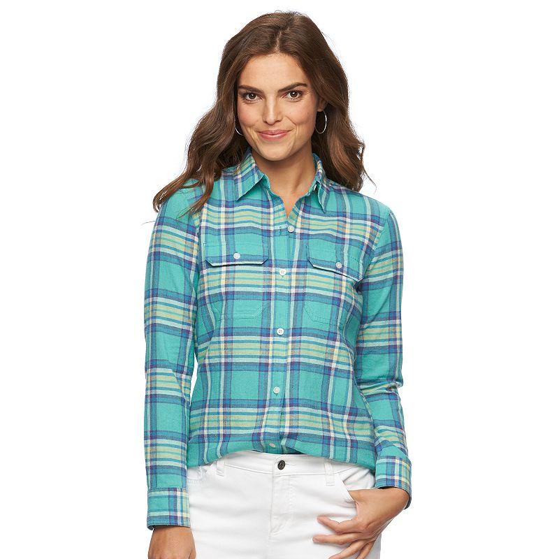 Petite Chaps Plaid Shirt
