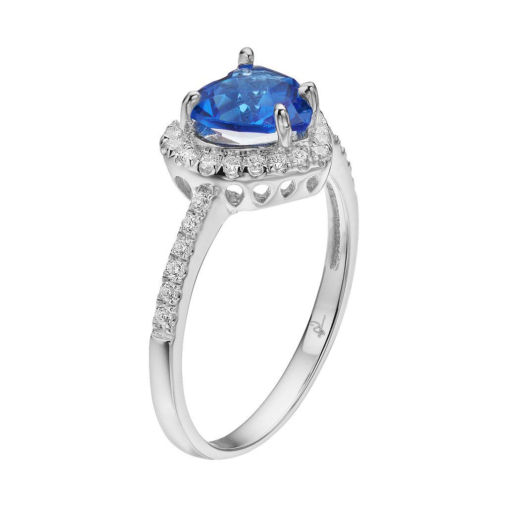 Rebecca Sloane Blue Obsidian & Cubic Zirconia Platinum Over Silver Heart Halo Ring