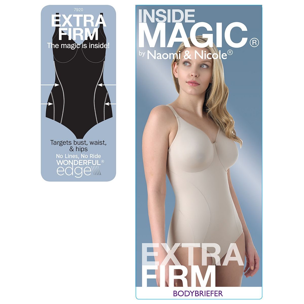Naomi & Nicole Shapewear Inside Magic Body Shaper 7920 Black fjpKr