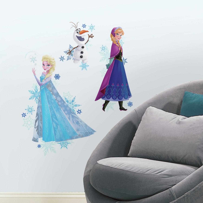 Disneyu0027s Frozen Anna, Elsa U0026 Olaf Peel U0026 Stick Giant Wall Decals