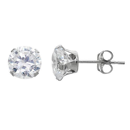 Taylor Grace Cubic Zirconia 10k White Gold Stud Earrings