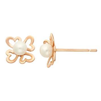 Junior Jewels Freshwater Cultured Pearl 14k Rose Gold Heart Stud Earrings - Kids