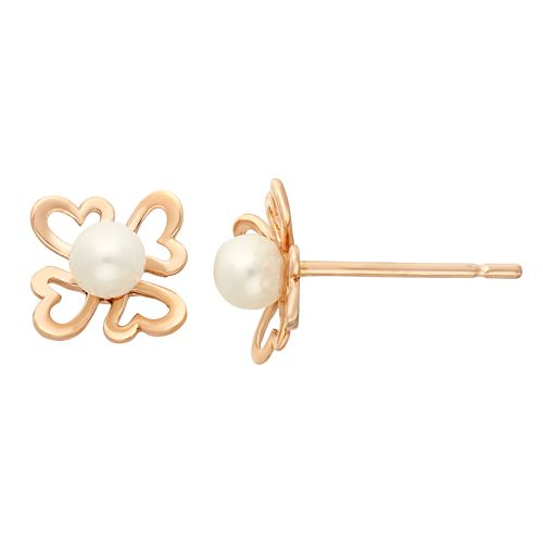 Junior Jewels Freshwater Cultured Pearl 14k Rose Gold Heart Stud Earrings - Kids