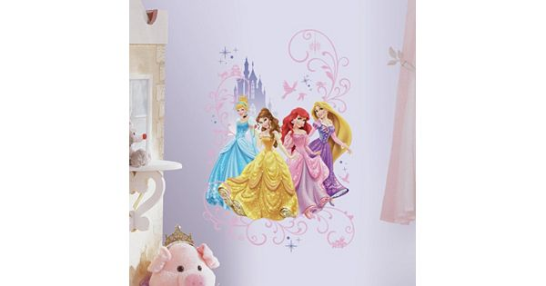 Disney 39 s princesses wall graphix peel and stick giant wall for Disney princess wall mural tesco