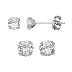 Taylor Grace Cubic Zirconia 10k White Gold Stud Earring Set