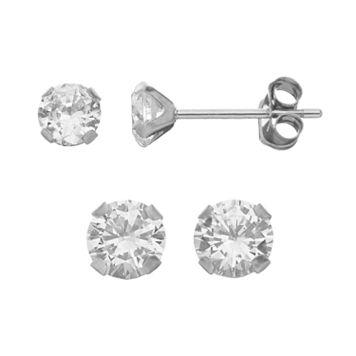 Taylor Grace Cubic Zirconia 10k White Gold Stud Earring Set