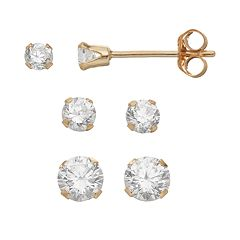 Taylor Grace Cubic Zirconia 10k Gold Stud Earring Set