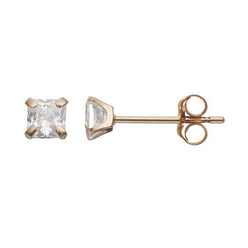 Taylor Grace Cubic Zirconia 10k Gold Stud Earrings