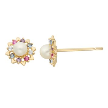 Junior Jewels Freshwater Cultured Pearl & Cubic Zirconia 14k Gold Flower Stud Earrings - Kids
