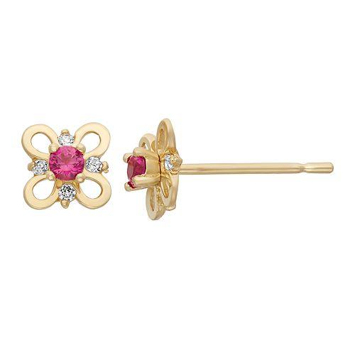 Junior Jewels Cubic Zirconia 14k Gold Butterfly Stud Earrings - Kids