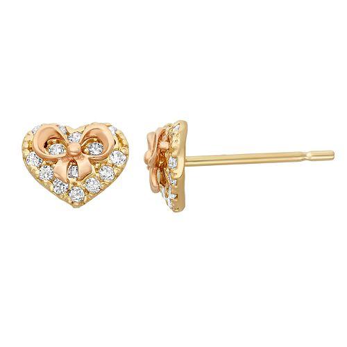 Junior Jewels Cubic Zirconia 14k Gold Two Tone Heart & Bow Stud Earrings - Kids