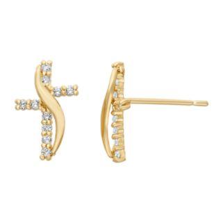 Junior Jewels Cubic Zirconia 14k Gold Cross Stud Earrings - Kids