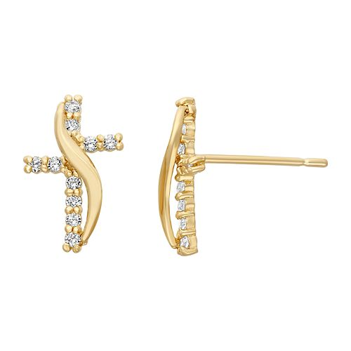 Junior Jewels Cubic Zirconia 14k Gold Cross Stud Earrings - Kids