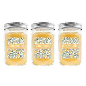 LumaBase 3-piece Citronella 12-oz. Mason Jar Candle Set