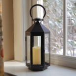 LumaBase 2-piece Lantern & LED Flameless Candle Set