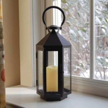LumaBase 2-piece Lantern and LED Flameless Candle Set