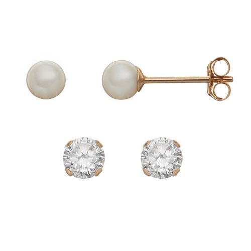 Taylor Grace Freshwater Cultured Pearl & Cubic Zirconia 10k Gold Stud Earring Set