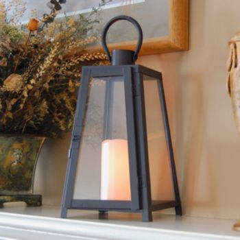 LumaBase 2-piece Tapered Metal Lantern and LED Candle Set