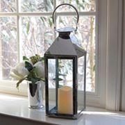 LumaBase 2 pc Chrome Lantern & LED Candle Set