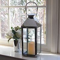 LumaBase 2-piece Chrome Lantern & LED Candle Set