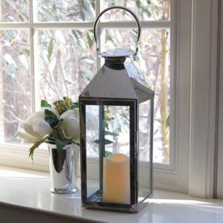 LumaBase 2-piece Chrome Lantern and LED Candle Set