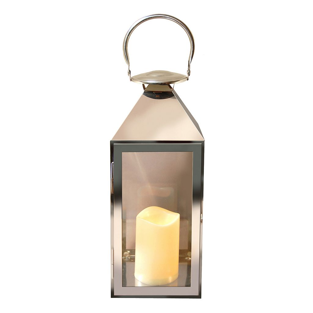 LumaBase 2-piece Chrome Lantern and LED Candle Set