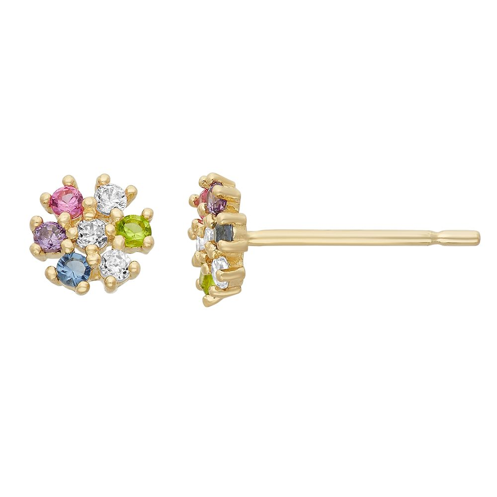 476a070fb Junior Jewels Cubic Zirconia 14k Gold Flower Stud Earrings - Kids