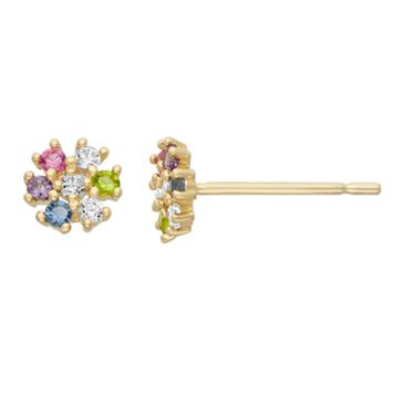 Junior Jewels Cubic Zirconia 14k Gold Flower Stud Earrings - Kids