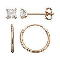 Taylor Grace Cubic Zirconia 10k Gold Stud & Hoop Earring Set
