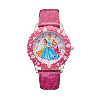 Disney Princess Kids' Cinderella, Belle & Aurora Leather Time Teacher Watch