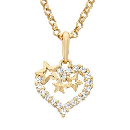 Junior Jewels Cubic Zirconia 14k Gold Cutout Heart & Star Pendant Necklace