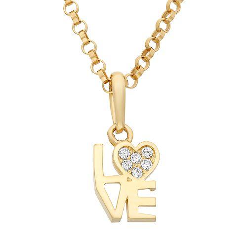 "Junior Jewels Cubic Zirconia 14k Gold ""Love"" Heart Pendant Necklace"