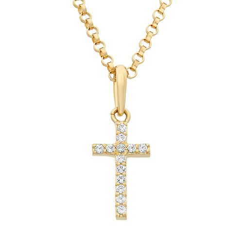 Junior Jewels Cubic Zirconia 14k Gold Cross Pendant Necklace