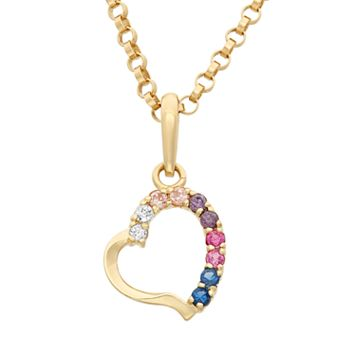 Junior Jewels Cubic Zirconia 14k Gold Cutout Heart Pendant Necklace