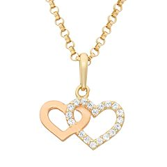 Junior Jewels Cubic Zirconia 14k Gold Two Tone Double Heart Pendant Necklace